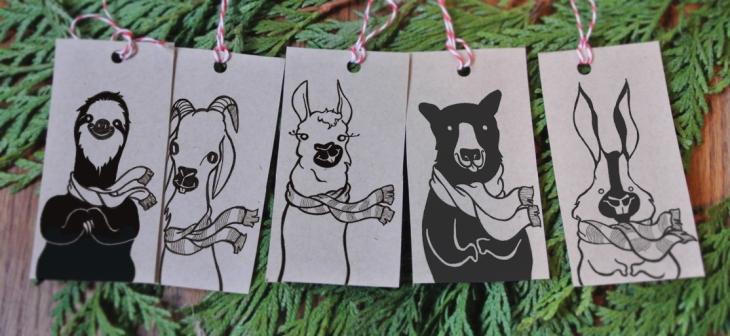 Funny Winter Animal Gift Tags on Etsy!