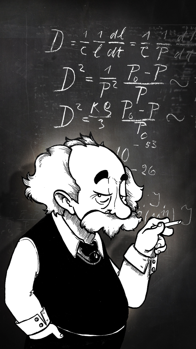 Albert Einstein Cartoon Illustration iPad wallpaper black and white science math